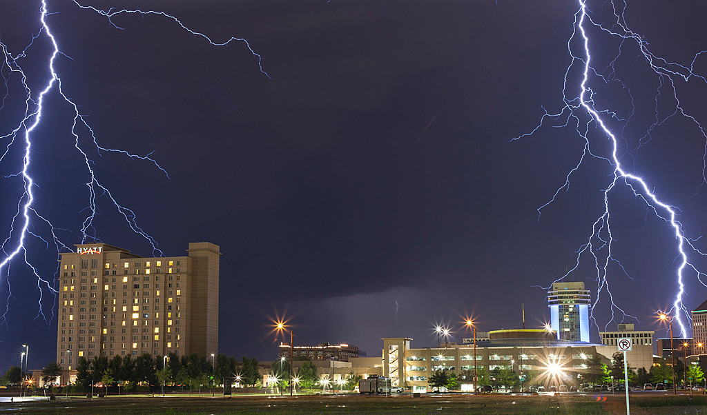 Lightning abounds as hail storm ravages downtown Wichita<br /> Dwight Corrin<br /> 1st Place - Digital Journalism - March 2013